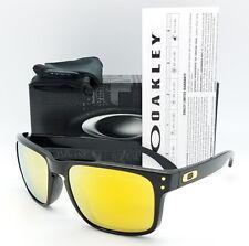 NEW Oakley Holbrook sunglasses Black 24K Irid 9102-E355 Gold AUTHENTIC 9102-E3