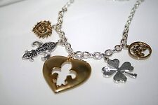 Chain w/ Hanging CHARMS Necklace METALLIC RUSTIC HEARTS, BIRDS, Flower $25 GIFT