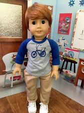 """OOAK Custom American Girl Doll Custom 18"""" Boy/brother Brown Eyes Ginger Red Hair"""