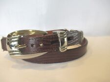NEW Jamie Sadock Narrow SZ S Croc Pattern Silver Accents Leather Brown Belt