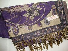 NEW Pashmina Winter Scarf Scarves Silk Purple Beige Floral Shawl Wrap Range Soft