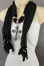 Women Black Fashion Long Necklace Soft Scarf Silver Cross Pendant Fringe Bead