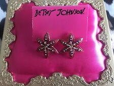 Betsey Johnson Rio Fuchsia Pink Glitter Tropical Flower Stud Earrings VERY RARE