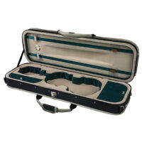 Deluxe 3/4 Size Acoustic Violin Fiddle Case Green w/ Strap Oblong **CLEARANCE**