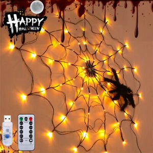 Halloween LED Spider Web Lights Waterproof Props Haunted Home Party Window Decor