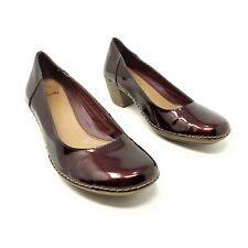 Clarks Plus Maroon Red Patent Court Shoes Heels UK 6 D EU 39 Block Heel