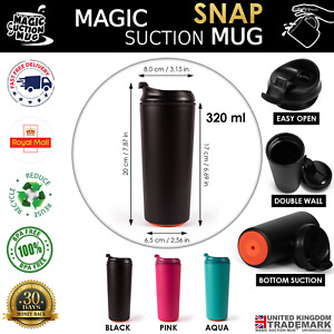 MAGIC SUCTION MUG Snap ✈ no spill travel coffee cup for all Mighty Tasks