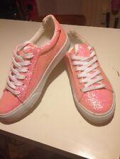 Turnschuhe, Sneakers in der Farbe lachs mit Glitzer-Glitter, Damen