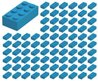 ☀️100 NEW LEGO 2x4 Dark Azure Bricks (ID 3001) BULK Parts star wars city town