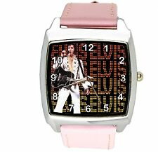 ELVIS PRESLEY VEGAS Steel LEATHER MUSIC KING LEGEND SQUARE CD PINK BAND WATCH