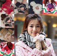 Wholesale Fashion Women Faux Rabbit Fur Hand Wrist Warmer Fingerless Gloves