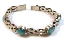 TAXCO .925 Sterling Silver Link Bracelet With Cat's Eye Inlay from Mexico