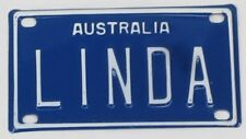 LINDA NOVELTY NAME MINI TIN AUSTRALIAN LICENSE NUMBER PLATE
