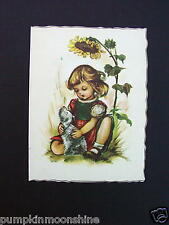 Unused Kruger Greeting Die-Cut Card Girl Sitting with Pooch ~ Printed in Germany