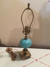 Vintage Blue Milk Glass Oil Lamp Converted Brass Base Working
