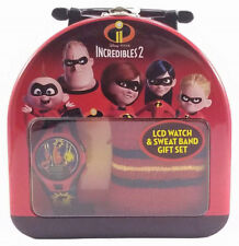 New Disney Pixar The Incredibles 2 Lcd Watch And Sweat Band Gift Set