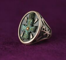 HAND MADE BYZANTINE RING ANTIQUE CROSS RING STERLING SILVER & GOLD SIZE 10