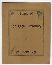 1894 SONGS LEGAL FRATERNITY PHI DELTA PHI Frat LEGAL Honor Society RARE Chapters