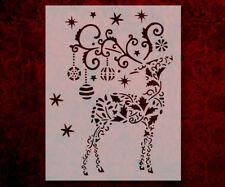 """Christmas Reindeer Holiday Ornaments 8.5"""" x 11"""" Stencil FAST FREE SHIPPING (628)"""
