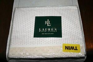 Ralph Lauren HEARTLAND Calico Red STRIPE Twin FLAT Sheet Rare - New