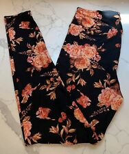 New listing NEW LuLaRoe OS Leggings BLACK Flower Floral Autumn FALL Rust Red Coral Peach