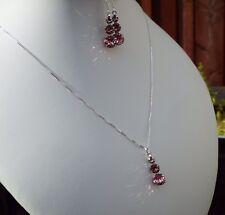 Elemento di cristallo swarovski fatto a mano & 925 Argento Sterling Orecchini & Collana Set