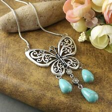 butterfly pendant Antique tibetan silver turquoise bead charm necklace 1PCS