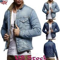 Mens Fur Denim Trucker Jackets Fleece Lined Jeans Coats Warm Outwear Winter Tops