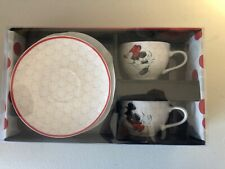 Disney Mickey Mouse Red & White Tea Cups & Plates (Set of 2)