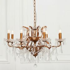 French Style 8 Arm Branch Antiqued Gold Shallow Cut Glass Chandelier
