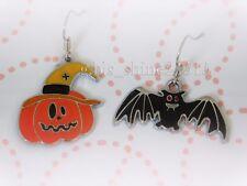 Halloween Cutie Pumpkin Funny Bat Hypoallergenic Hooks Earrings Women Girl Party