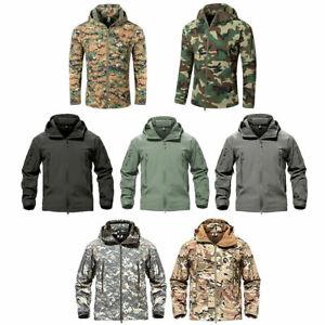 Mens LNA Camo Tactical SoftShell Jacket Active Outdoor Foldaway Hood