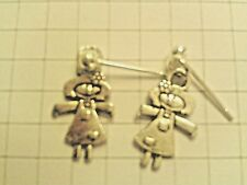 TIBETAN SILVER SMILING GIRL RAG DOLLS ON STUD EARRINGS  SILVER PLATED+POUCH