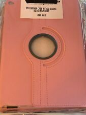 apple ipad Air 2nd Gen PU Leather Case With 360 Degree Rotating Stand Pink New