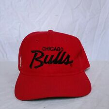 VTG Chicago Bulls Sports Specialties Script Snapback Hat Single Line 90s NBA Cap