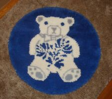 3 Foot Round Teddy Bear on Blue Latch Hook Rug Or Wall Hanging for Nursery