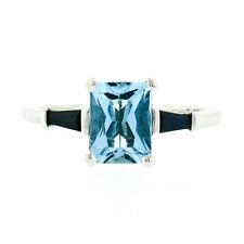 Vintage Platinum 1.66ctw Emerald Cut Aquamarine Solitaire Baguette Sapphire Ring