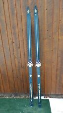 """OLD Wooden Skis 79"""" Long With Interesting Character Bindings + BLUE Finish"""