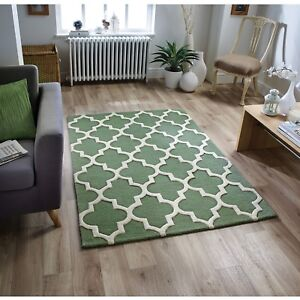 Arabesque Abstract Trellis Design Sage Green Handcarved Wool Rugs & Runners