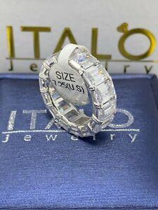 Italo Jewelry Woman's Emerald Cut Sapphire Eternity Wedding Band Ring Size 7.25