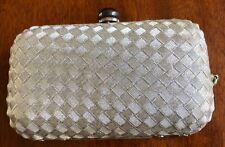 La Regale Ltd. Handmade Silver Weave Evening Purse Snap Closure Inner Pockets