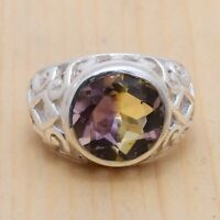 Natural Ametrine Gemstone Handmade 925 Sterling Silver Ring Size 7, Best Gift