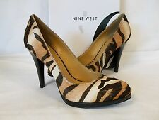 Nine West 10 M Rocha Natural Cow Leather Real Fur New Womens Shoes