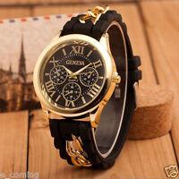 Mode Geneva Damen Armbanduhr Silikon Kette Analog Quarz uhr Uhr Neu
