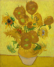 Sunflowers In Vase Vincent Van Gogh Painting 8x10 Real Canvas Art Print