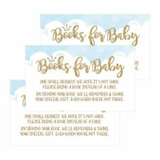 25 Books For Baby Request Insert Card For Boy Blue Heaven Sent Baby Shower...