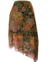 MAGNATE Y2K Women's UK 10 Bohemian Floral Skirt Beaded Fringe Layered Scarf Hem