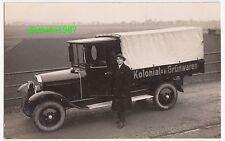 Foto Ak Werbe Pritschenwagen LKW Oldtimer Automobil Kolonial - Grünwaren 1930er