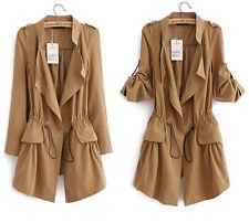 HOT Womens Casual Vintage Drawstring Boho Boyfriend Blazer Jacket Cardigan Coats