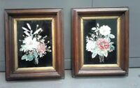 2 Reverse Tinsel Floral Painting Antique 1800s Walnut Frame